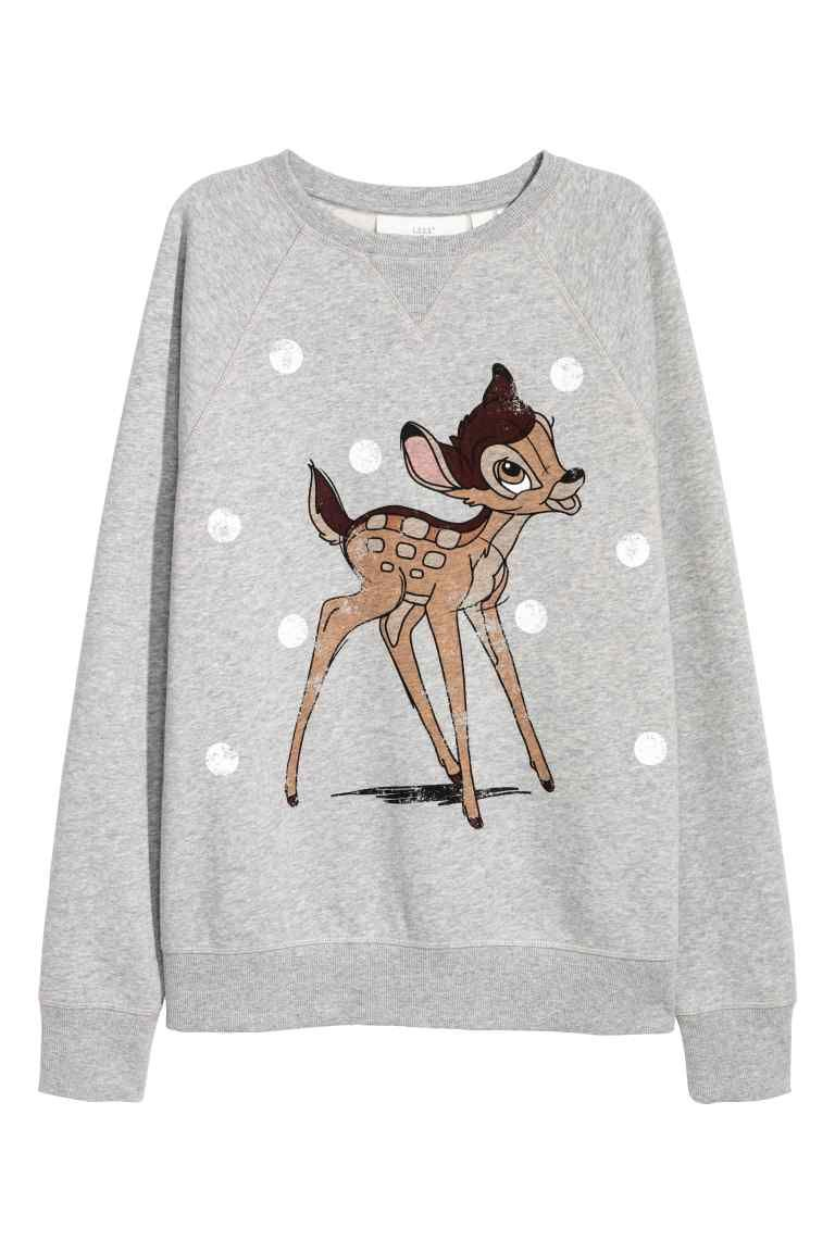 f92230db3532 Sweater met print - Lichtgrijs Bambi - DAMES