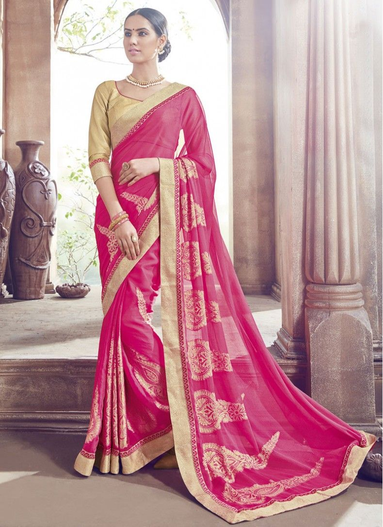 Hot Pink Chiffon Designer Wedding Saree | Saree | Pinterest