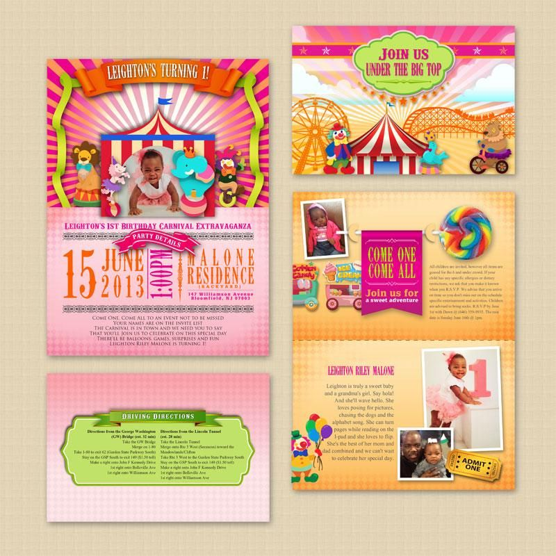 Carnival Pop up birthday invitation | Baby Shower and Birthday ...