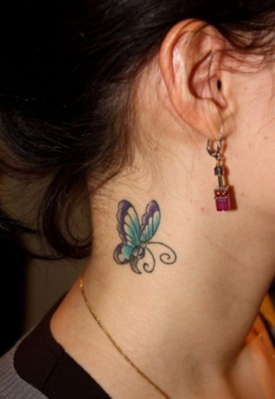 6583f0cddba6d Blue Butterfly Tattoo for Neck | tattoo | Colorful butterfly tattoo ...