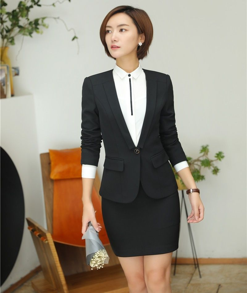 AidenRoy Formal Women Business Suits with Skirt and Jacket Sets Ladies  Black Blazer Work Wear Office afc3fa3c0
