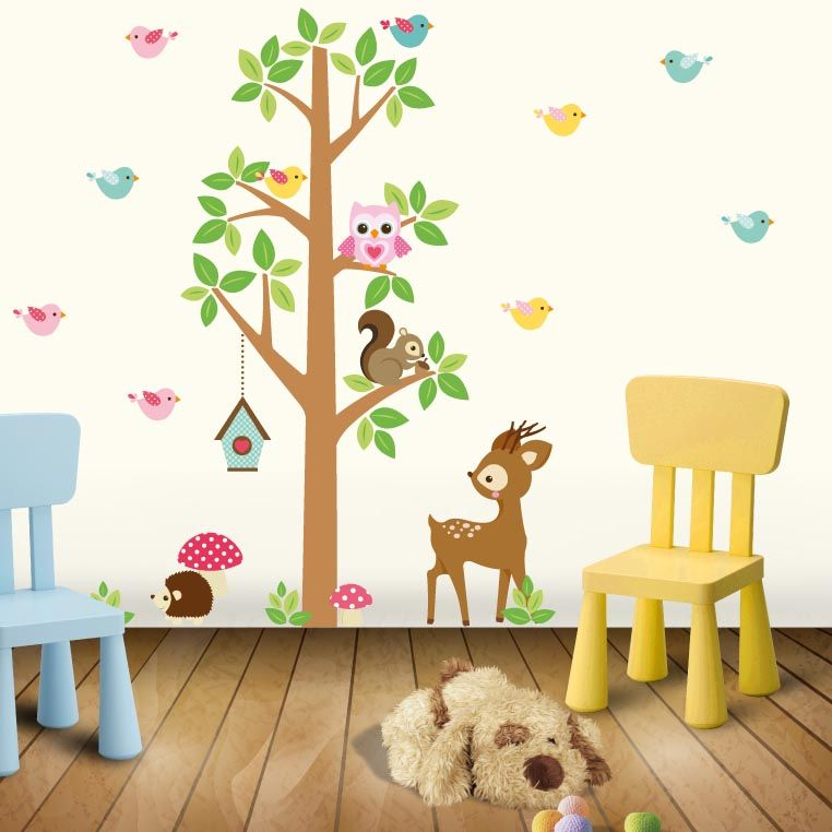 Kit de vinilo decorativo arbol con animales del bosque - Vinilos de arboles infantiles ...