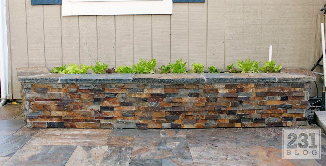 Diy Slate Ledge Stone Planter Boxes We Know How To Do It Stone Planters Brick Planter Planter Boxes