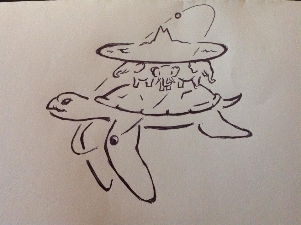 Line Drawing Yarn : Great a'tuin carrying the discworld ref t pratchett drawn by