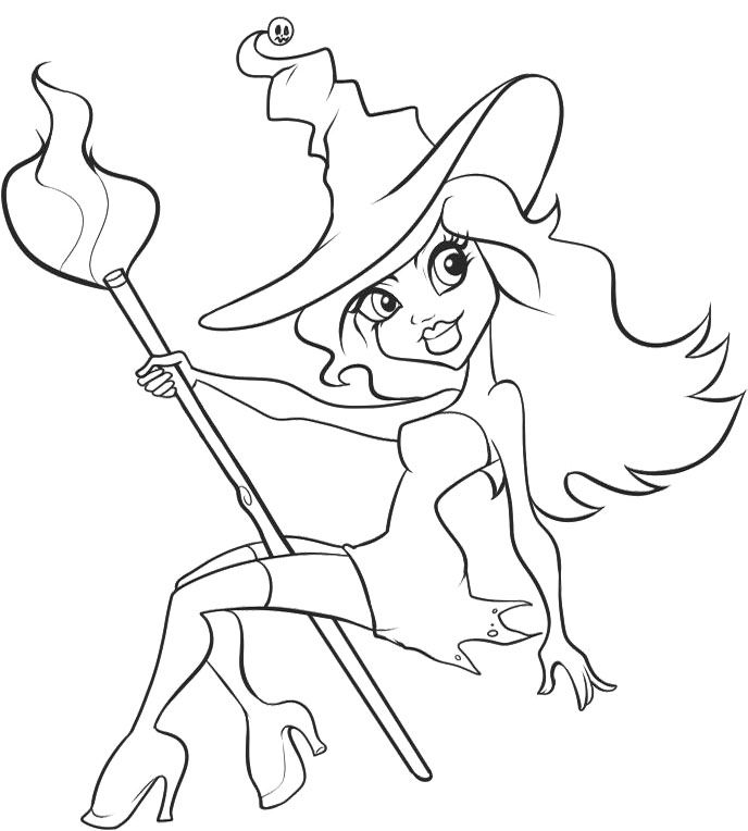 simple witch coloring pages - photo #25