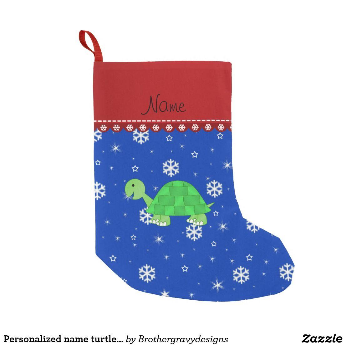 personalized name turtle blue snowflakes small christmas stocking