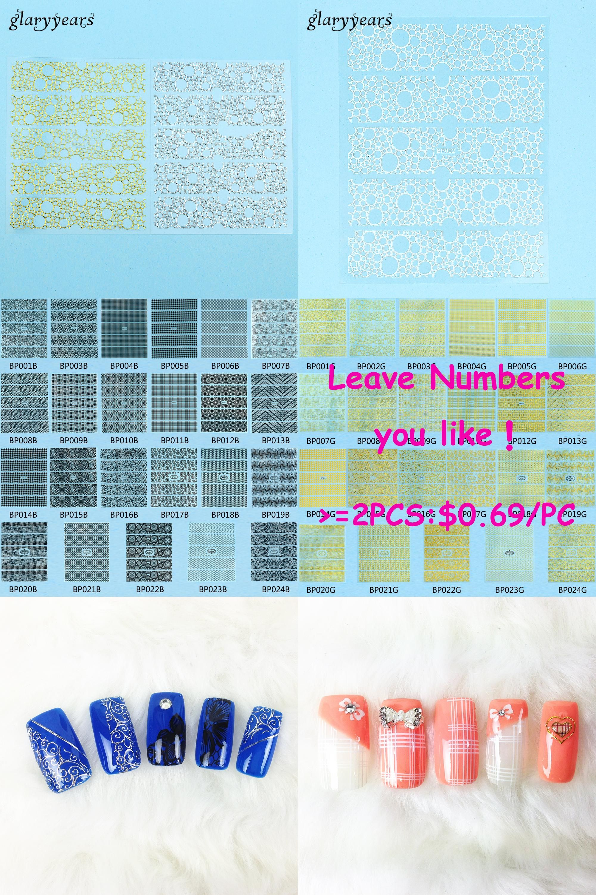 Visit to Buy] 1 Sheet Fashion 3D Nail Sticker Gold Round Bubble ...