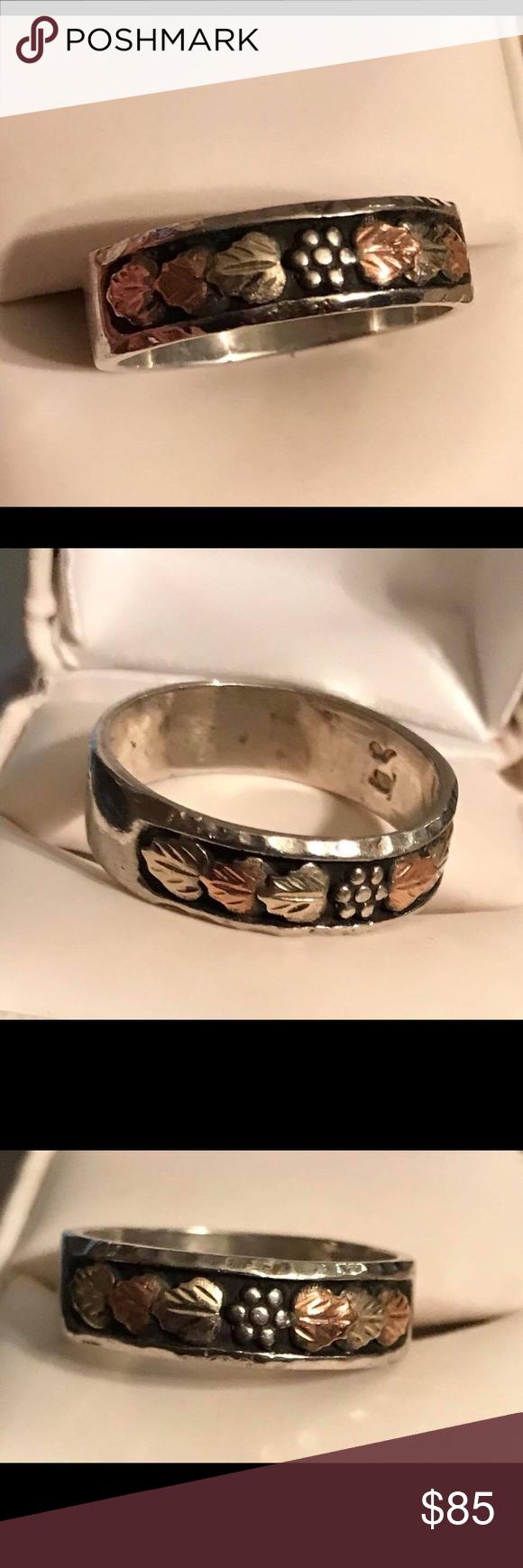 Sterling Silver Land Storm's Black Hills Gold Ring
