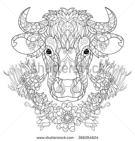 Hand Drawn Doodle Outline Cow Head Decorated With Ornaments Vector