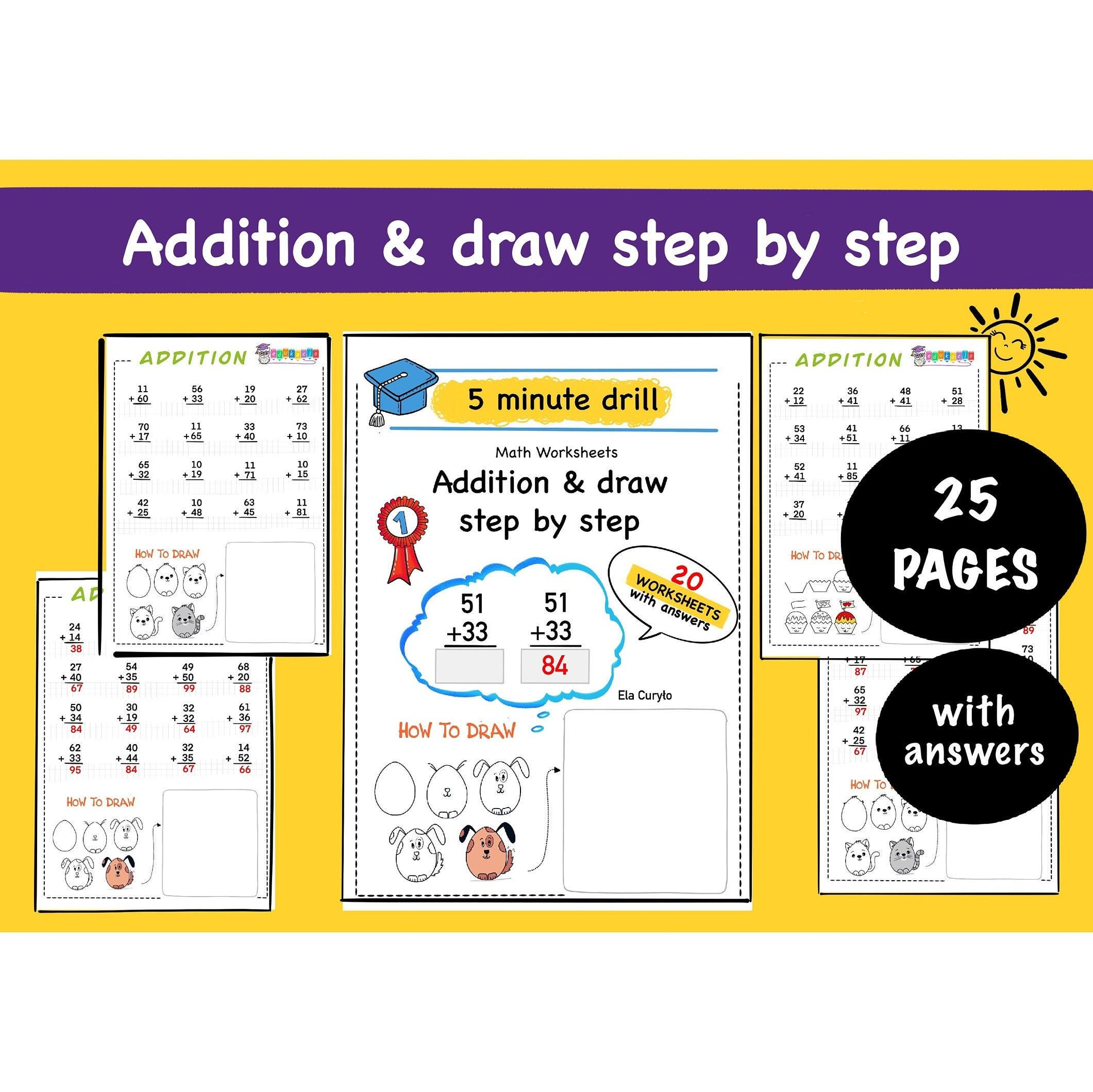 Addition Amp Draw Step By Step 25 Printable Pages Math