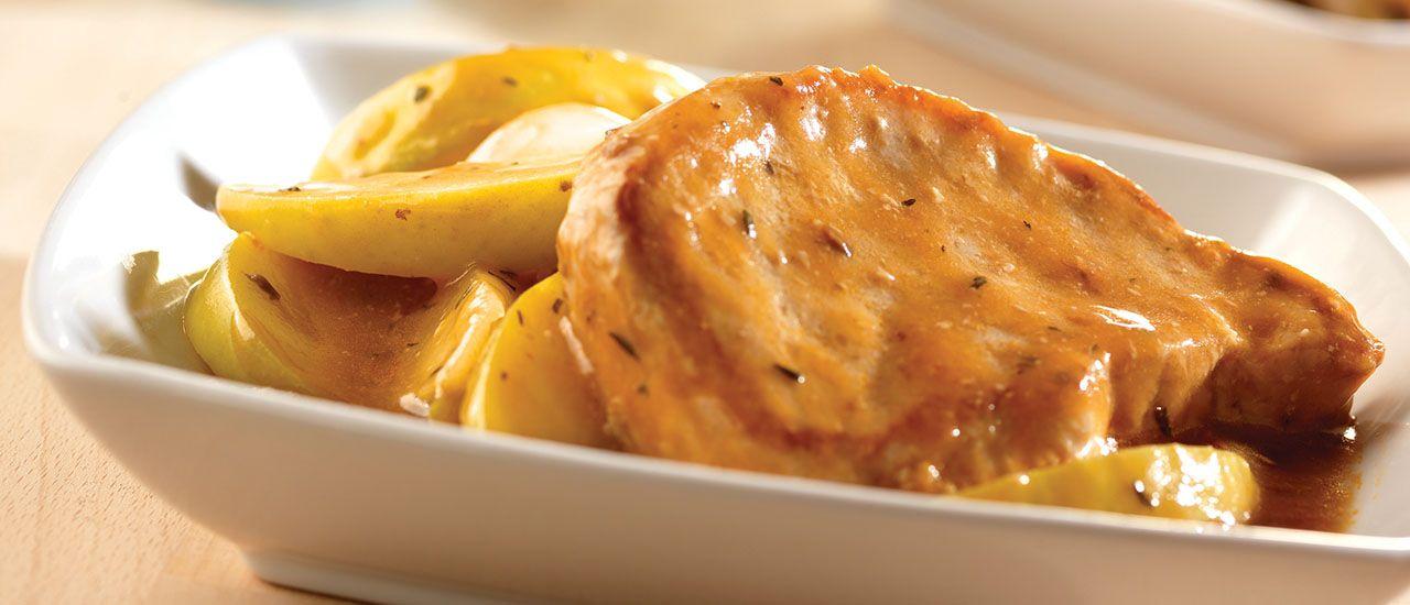 Slow Cooker Golden Mushroom Pork & Apples Recipe