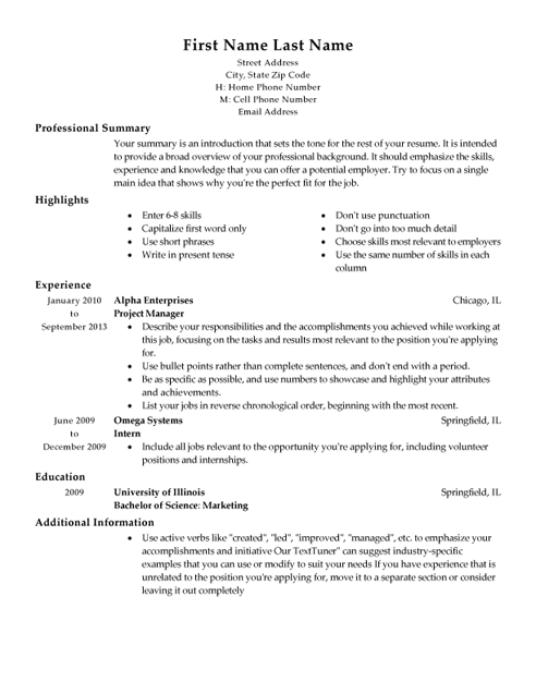 project managers resume templates osujei free sample resumes easyjob ...
