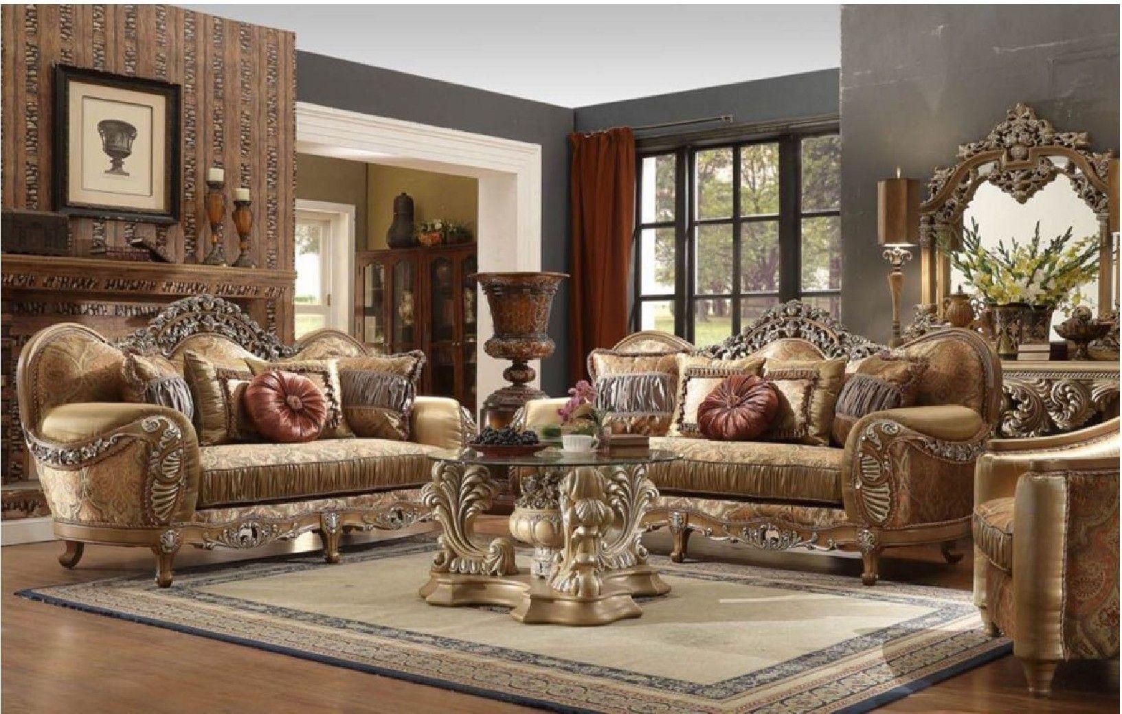 Hd 622 Homey Design Upholstery Living Room Set Victorian Euro
