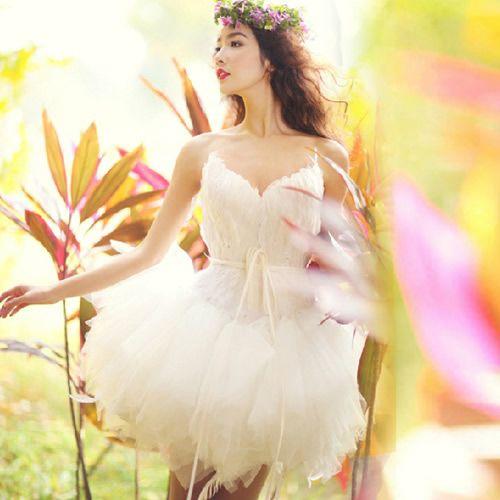 Best White Feather Tulle Short Tutu Fairy Wedding Bridal Dresses SKU 166018