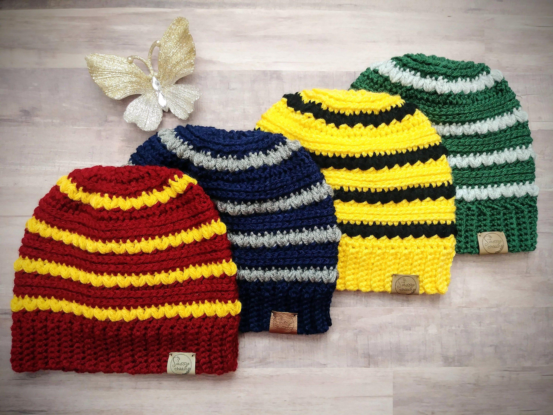 Team Spirit Harry Potter Inspired Winter Beanie Hat Handmade Etsy In 2020 Harry Potter Crochet Harry Potter Knit Crochet Hats Free Pattern