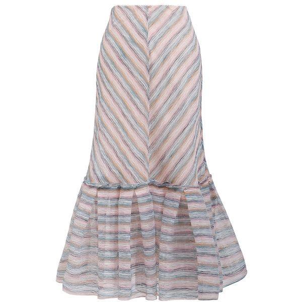 Ginger & Smart Rosalie Ruffle Midi Skirt ($540) ❤ liked on Polyvore featuring skirts, stripe, midi skirt, flounce hem skirt, mid calf skirts, frill skirt and striped midi skirt