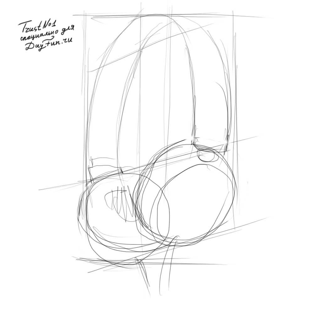 How To Draw Headphones Step By Step 2 Headphones Drawing Object Drawing Music Drawings