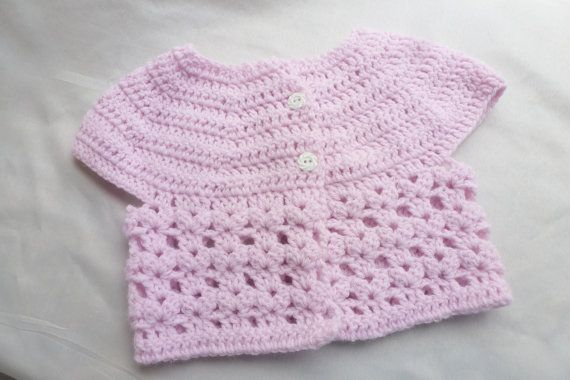 6-12 months Crochet Baby Cardigan Pink 9 months 6 by AngieMade, $34.00