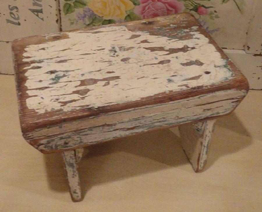 Vintage Primitive Solid Wood Dairy Milking Stool Bench
