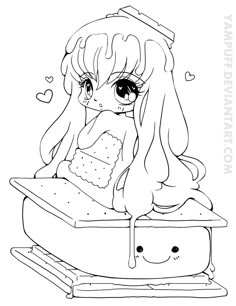 S\'more Chibi Commission - Lineart by *YamPuff on deviantART | para ...