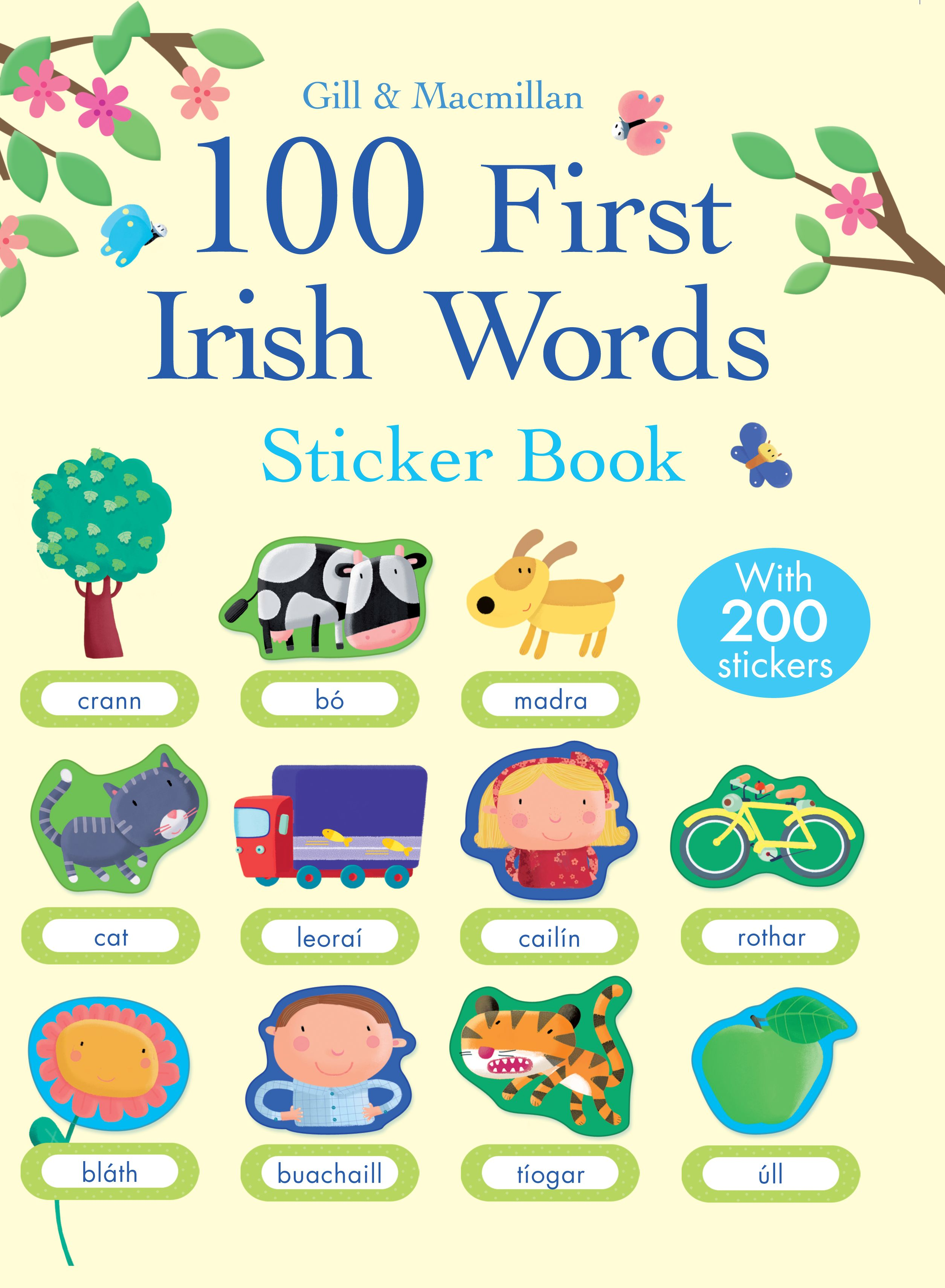 100 First Irish Words Sticker Book Illustrated By
