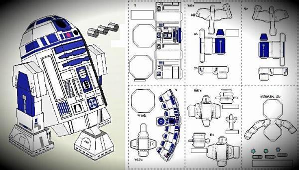 R2 D2 papercraft Robot papercraft, Star wars r2d2