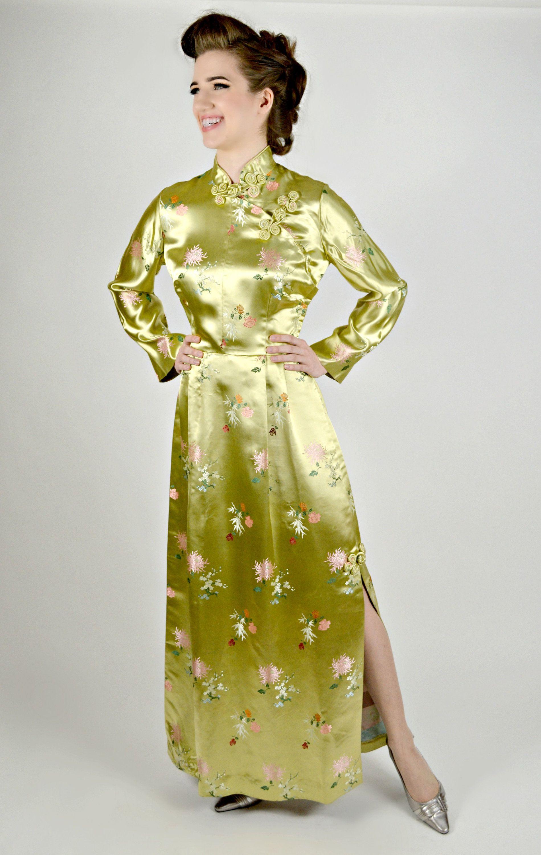 Asiatische Cheongsam lange Cheongsam Kleid 1950er Jahre | Western ...