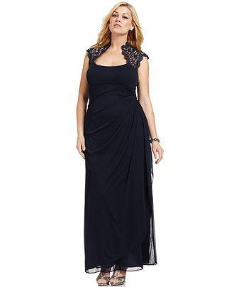 Xscape Plus Size Dress, Cap-Sleeve Lace Gown - Plus Size Dresses ...
