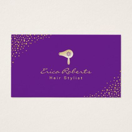 Hair Stylist Modern Confetti Dots Gold Dryer Business Card Diy Cyo Customize Create Your Own Personalize