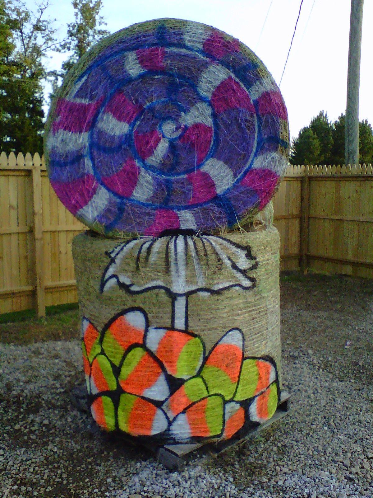 Painted Hay Bale at Hill Ridge Farms by Cyndi McKnight 2011