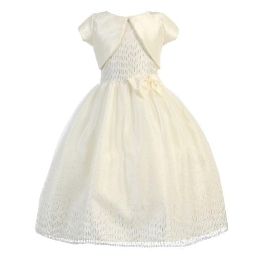 0210ede6d Calla Collection Big Girls Ivory Glitter Junior Bridesmaid Bolero Dress  8-12, Size: 10