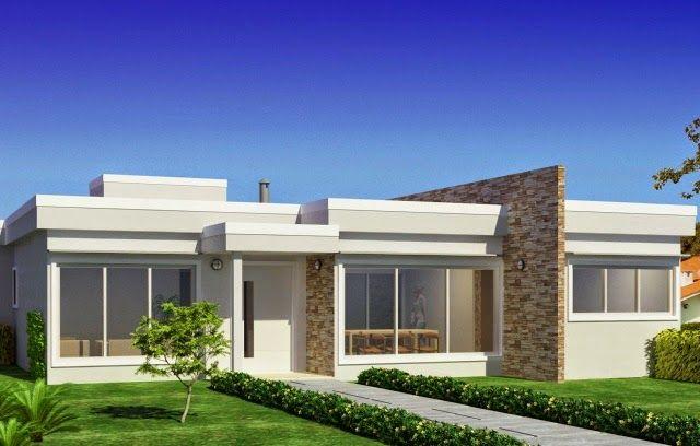 Fachadas de casas t rreas veja 20 modelos modernos e for Fachadas de apartamentos modernos