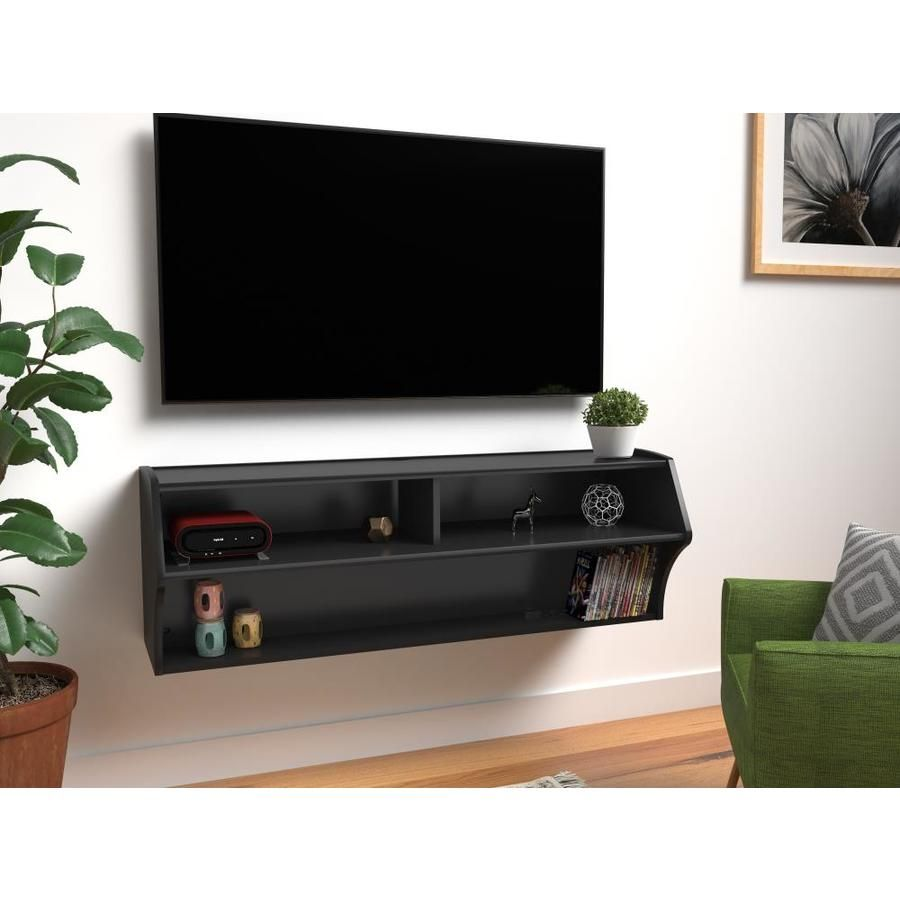 Prepac Composite Wood Wall Tv Mount For Tvs Up To 30 In Bcaw 0200 1 In 2020 Mounted Tv Wall Black Walls