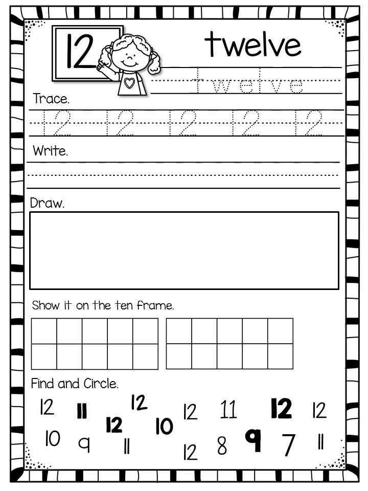 Number Worksheets For 1 20 School Kindergarten Math
