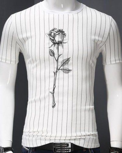 c332964f Embroidered t shirt striped rose flower pattern for men plus size clothing