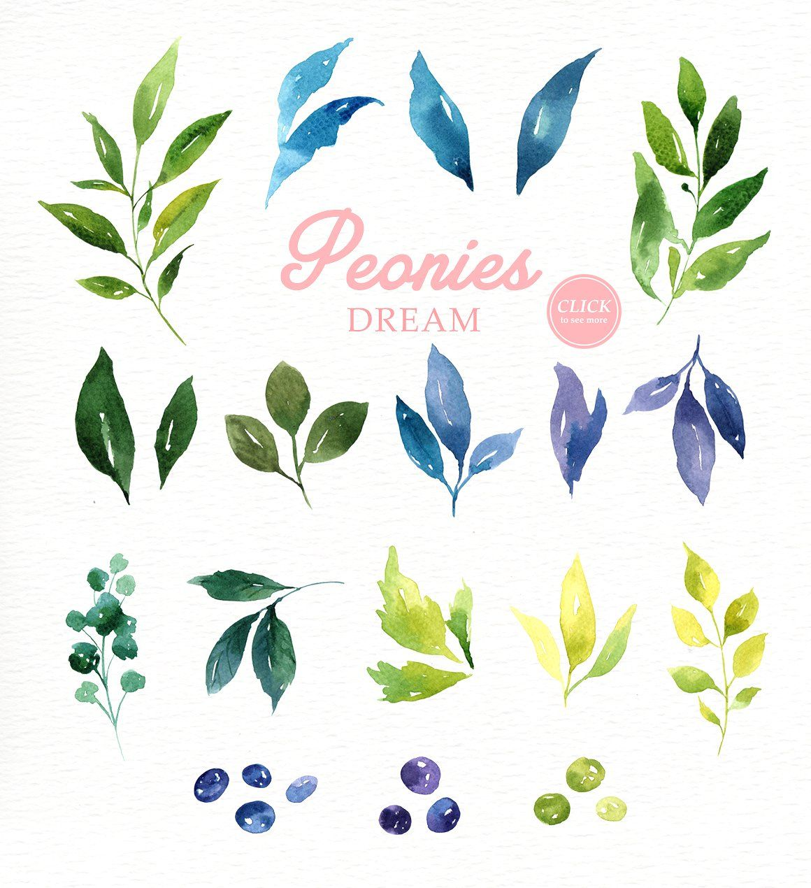 Peonies Dream Watercolor Clipart #wreath#Perfect#wedding#Included