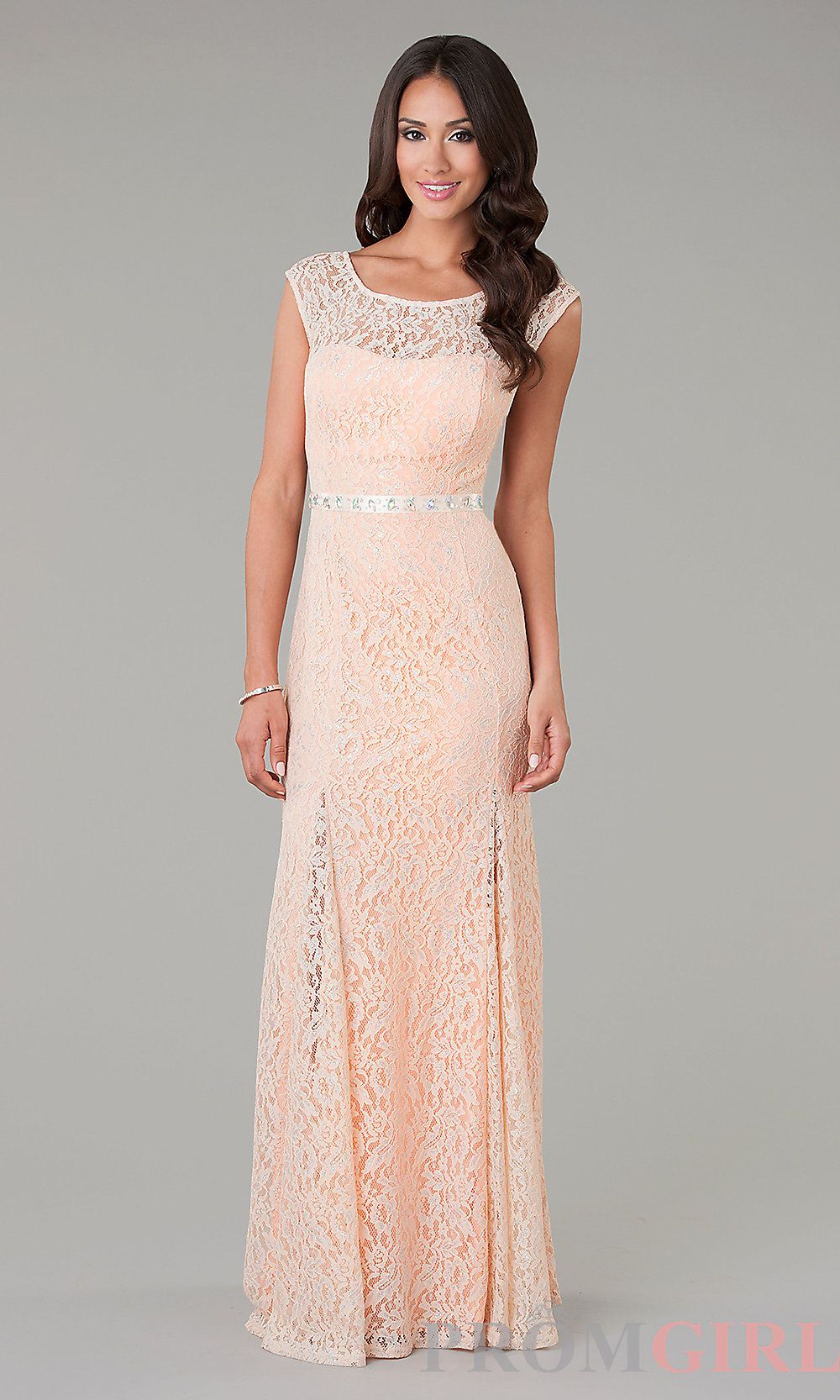 Long lace evening gowns lace trimmed prom dresses promgirl