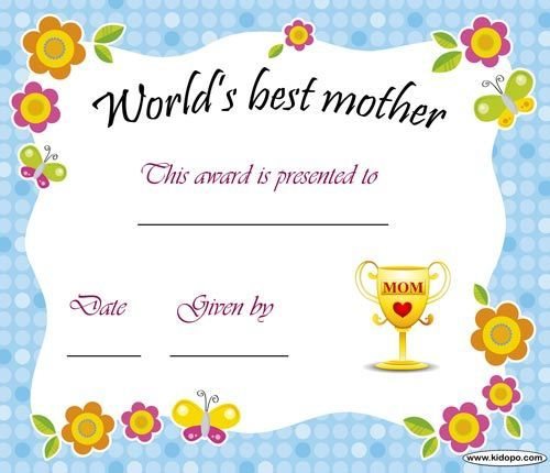 Best mom certificate Mother\u0027s Day Printable certificates, Blank