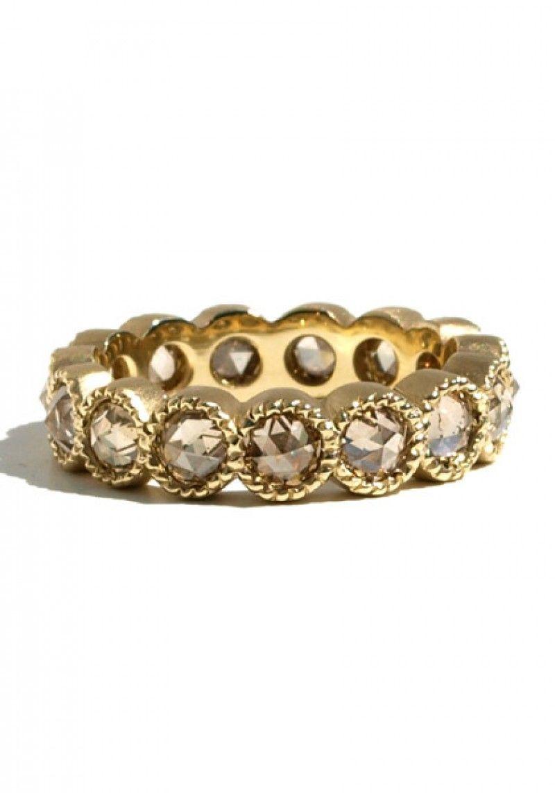 Sylva & Cie 2.30ctw Champagne Rose Cut Diamond Eternity Band | Oster Jewelers