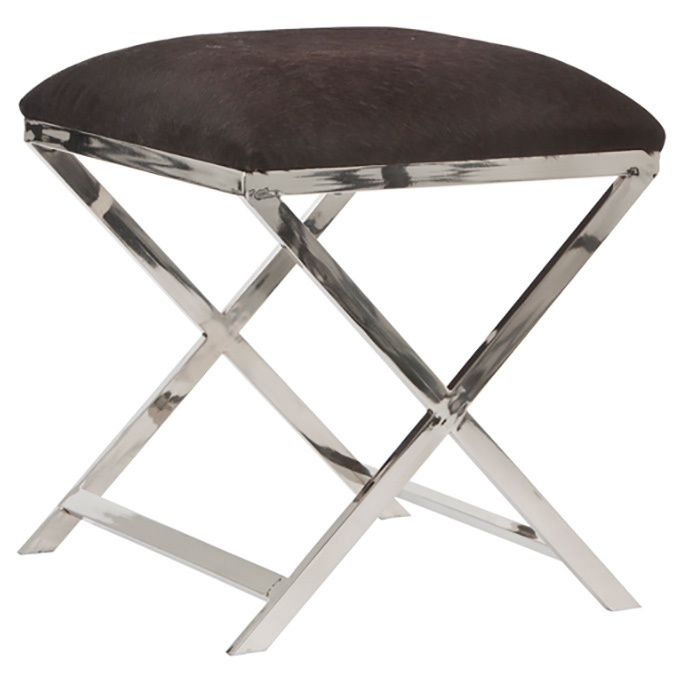Enterprises Square Stool with Cowskin and Steel Legs