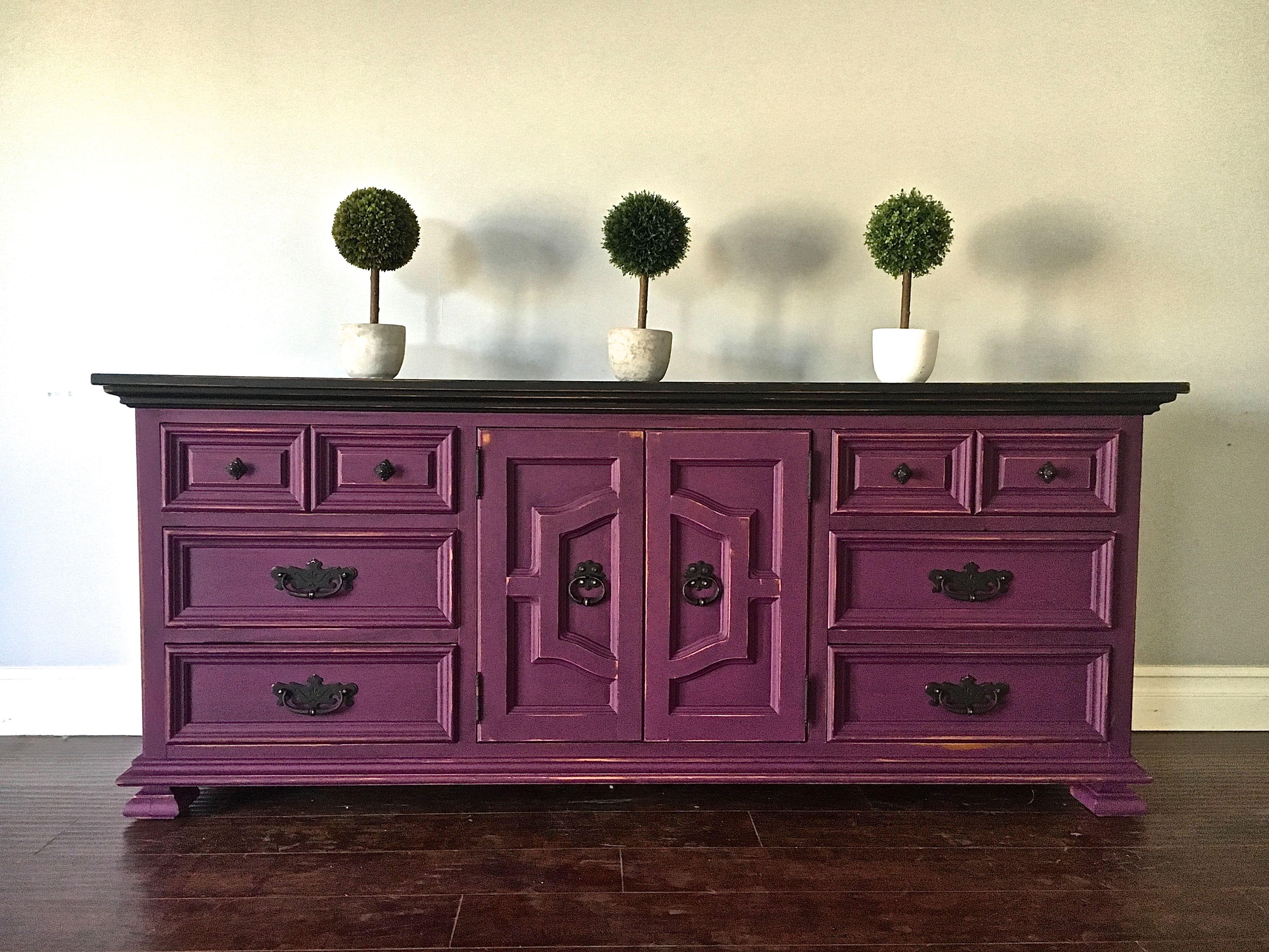 Black shabby chic furniture - Shabby Chic Plum Black 9 Drawer Dresser Sideboard 450 Sold