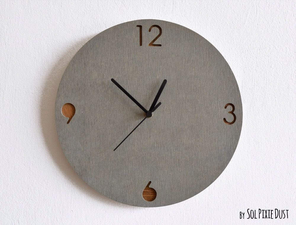 concrete and wood circle wall clock modern wall clock by on etsy https