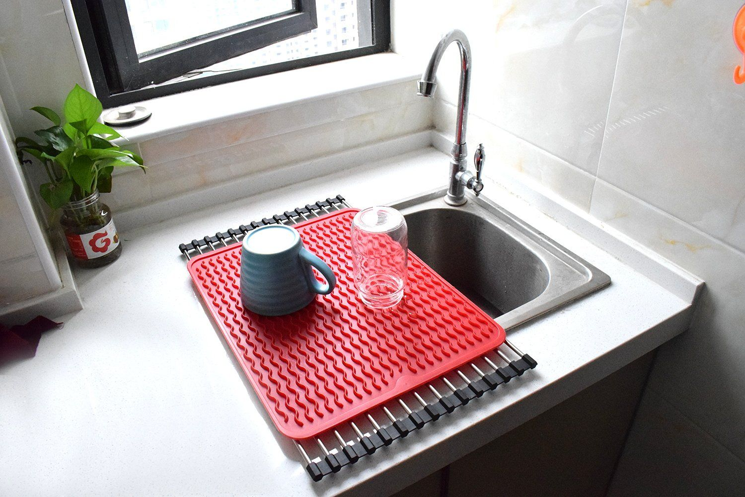 Neodot Silicone Dish Drying Mat Hangable Draining Mat For Kitchen