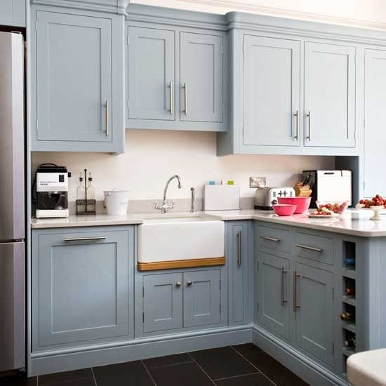 Take A Tour Around A Traditional Painted Kitchen With Vibrant - Light blue grey kitchen cabinets