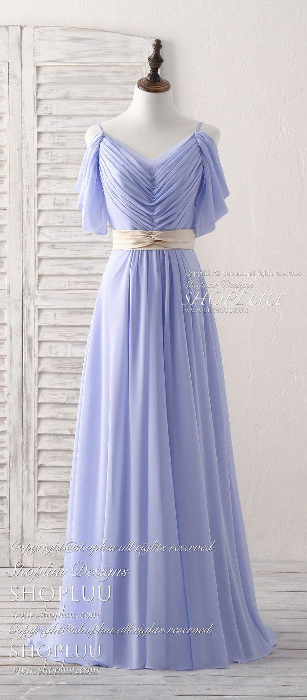 Simple v neck off shoulder chiffon long prom dress evening dress in