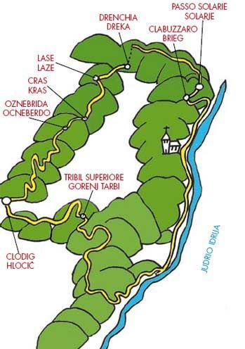 Itinerario 5  Length The total length of the route is approximately 31km. Here are the kilometres for each section: Clodig/ Hlodič-Tribil Superiore/Gorenj Tarbij 6km; Tribil Superiore/Gorenj Tarbij-Iudrio/Idrija valley floor 5km; Iudrio/Idrija valley floor-Clabuzzaro/Brieg approximately 7km; Clabuzzaro/Brieg-Solarie/ Solarje 1,5km; Solarie/Solarje-bivouac Zanuso 2km; bivouac Zanuso-Drenchia/Dreka 1km; Drenchia/Dreka-Clodig/Hlodič 8,5km