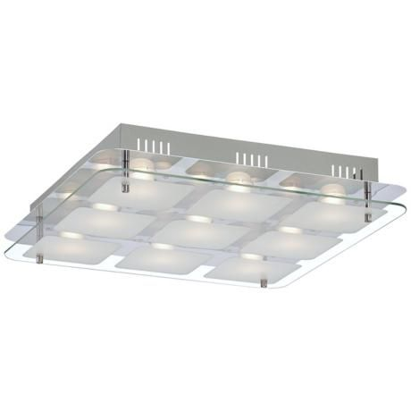 Elin chrome 15 square frosted glass led ceiling light 6d218 lamps plus