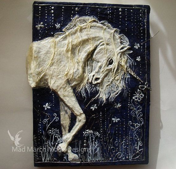 Paper Mache Book Cover : Unicorn large d handmade journal art projects