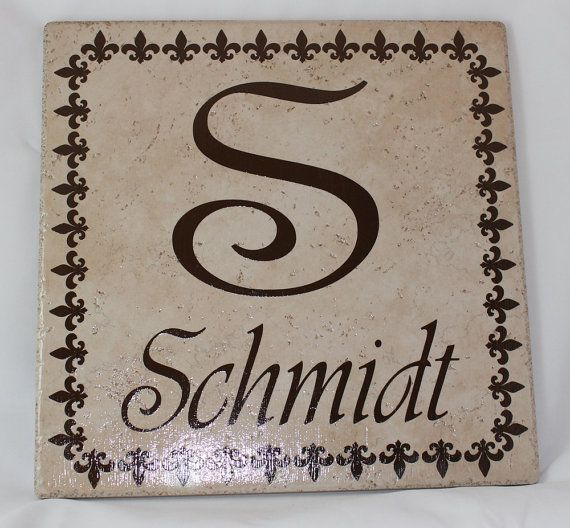 Ceramic Tile Name Plate with Initial, Last Name, and Square Fleur de ...