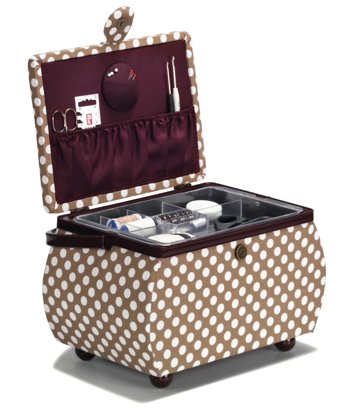 Sewing basket Polka Dots beige/burgundy L | Nähkorb Polka Dots beige/burgund L